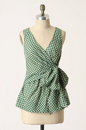 Swathed Gingham Blouse - Anthropologie.com :  tie closure blouse gingham bow