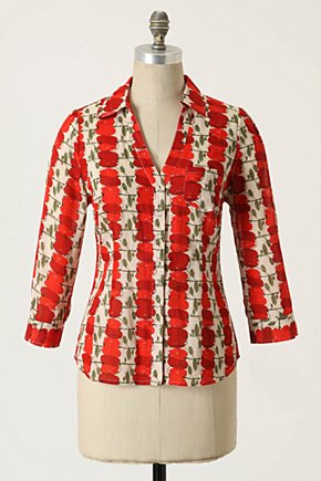 Red Delicious Blouse - Anthropologie.com :  button front blouse poplin apple