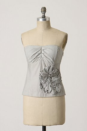 Twirling Peony Blouse - Anthropologie.com :  blouse poplin grey corset inspired