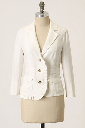 Landmarks Jacket - Anthropologie.com :  button front linen blend blazer ruffle