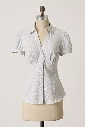 Ad Infinitum Blouse - Anthropologie.com :  button front striped blouse poplin
