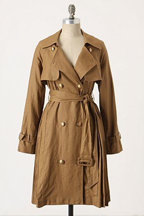 Page-Turner Trench Coat - Anthropologie.com :  beige belted pleated trench coat