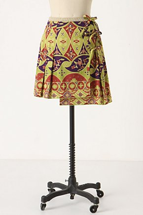 Three's A Charm Skirt - Anthropologie.com :  ribbon cotton green wrap skirt