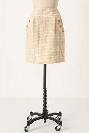 Spring Tweed Skirt - Anthropologie.com :  pink green side pockets cream