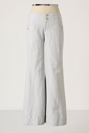 Slender Stripes Wide-Legs - Anthropologie.com :  pants linen blend front pockets airy