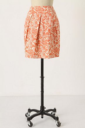 Woodblock Print Skirt - Anthropologie.com :  floral orange side pockets butterfly