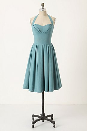 Traced Twirls Dress - Anthropologie.com :  blue and white halter dress polka dots poplin