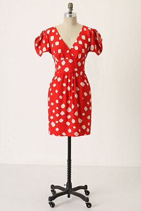 Shibori Silk Dress - Anthropologie.com :  scarlet silk red and white side pockets