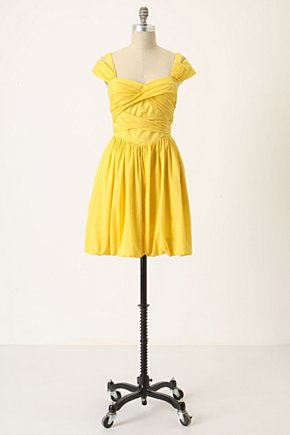 Bamboo Garden Dress - Anthropologie.com :  cheery yellow tie back bubble hem