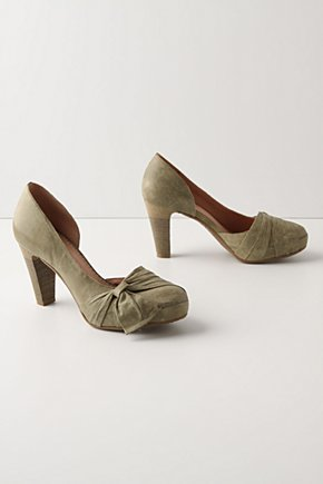 Draped Pumps - Anthropologie.com :  platform pumps olive leather