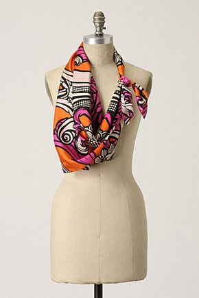 Arabesque Pop Scarf - Anthropologie.com :  pink polka dot silk orange