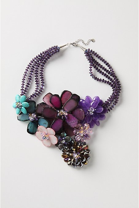 Gem Forest Bib Necklace - Anthropologie :  necklace jewelry floral necklace necklaces