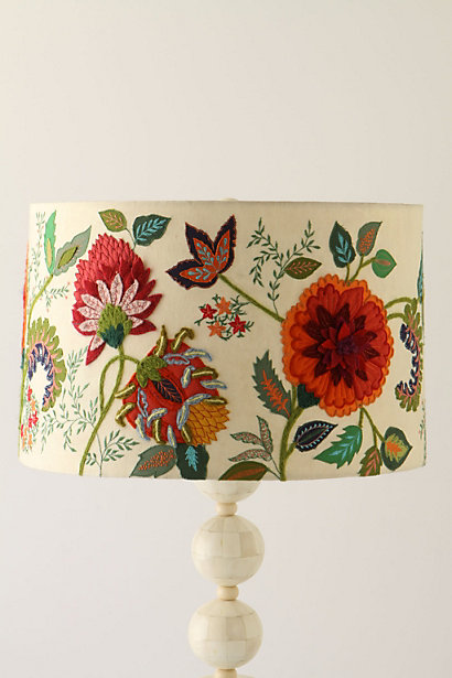 Anthros needlework garden shade knockoff decor to adore i went back to the store twice to study the lampshade it appeared that the cream colored fabric had been enhanced with beautiful crewel embroidery and aloadofball Images
