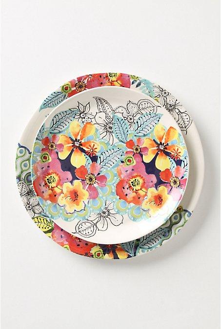 Multi colored floral plates