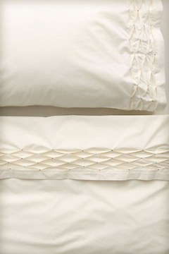 Diamond Pleated Sheet Set, Cream