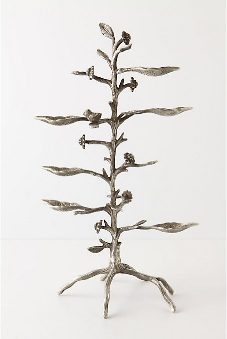 Sunflower Stalk Jewelry Stand :  rings jewelry necklaces brass