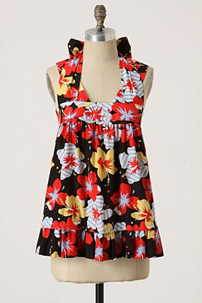 Pahala Halter - Anthropologie.com :  red ruffled hem silk blend front pockets