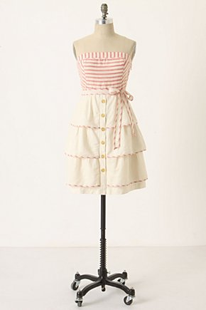 Sweet Shoppe Dress-Anthropologie.com :  striped pink and cream ruffles trimmed