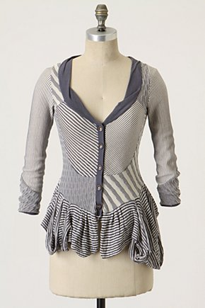 Bunting Peplum Cardigan by Leifsdottir - Anthropologie.com :  mixed print womens bubble hem gray