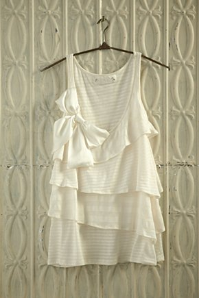 Pearly Glow Tank - Anthropologie.com :  ivory tank top jersey bow