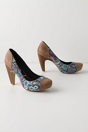 Hemmed Paisley Heels - Anthropologie.com :  toffee pumps leather cute