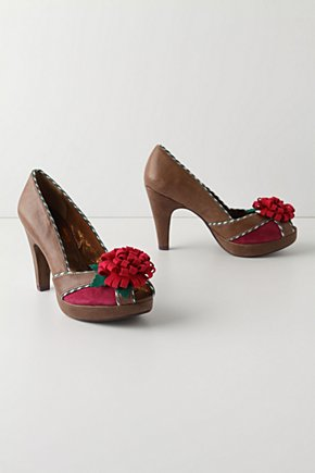 Felted Chrysanthemum Heels - Anthropologie.com :  platform chrysanthemum leather felted