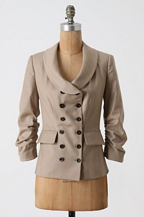 Brief Meeting Blazer - Anthropologie.com :  button front three quarter sleeves angular ruched