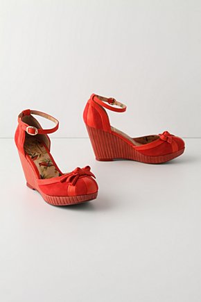 Scarlet & Crimson Wedges - Anthropologie.com :  scarlet angular crimson wooden heel