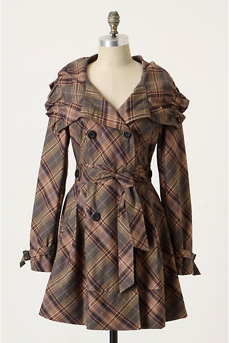 Anthropologie - Puckered Plaid Trench :  jacket anthropologie plaid pattern plaid coat