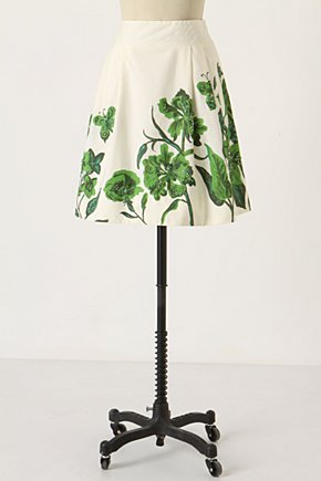 Flight 'Round The Garden Skirt - Anthropologie.com :  lace nature inspired green side pockets