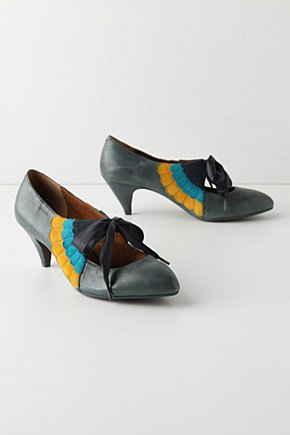 Wingspan Heels - Anthropologie.com :  suede bow leather oxfords