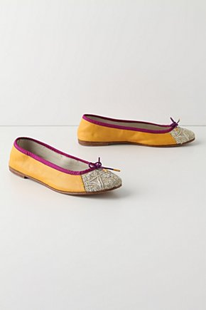 Twinkling Terraces Flats - Anthropologie.com :  beads silvery saffron purple