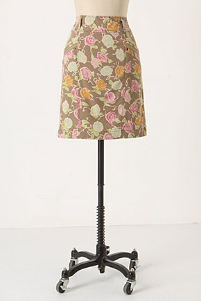 Sidewalk Garden Skirt - Anthropologie.com :  rose print cute twill pastel