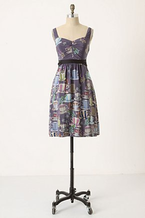 Sugar & Cream Dress - Anthropologie.com :  printed party frock silk ruched
