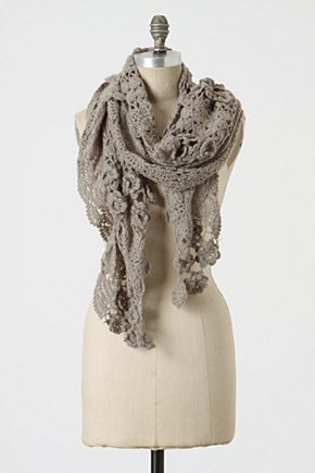 Leonora Scarf - Anthropologie.com :  crocheted ruffled scarf scalloped
