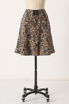 Norwegian Woods Skirt - Anthropologie.com :  velvety black and floral lace up cinched waist