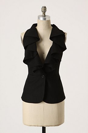 Falling In Love Vest - Anthropologie.com :  ruffles wooly button closure draped