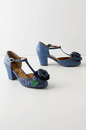 Dusky Begonia T-Straps - Anthropologie.com :  blue leather pintucked begonia