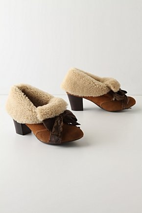 Great North Woods Booties - Anthropologie.com :  fleece suede bows lace