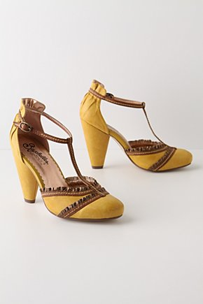 Glad Rags T-Straps - Anthropologie.com :  piping leather ruffling vintage inspired