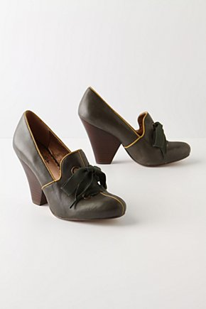 Ancient Woods Heels - Anthropologie.com :  piping pumps leather stacked heel