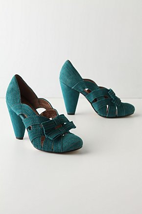 Sweeping Stitch Heels - Anthropologie.com :  whimsical pumps suede bows