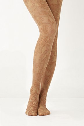 Neutral Paisley Tights - Anthropologie.com :  tights nylon paisley neutral