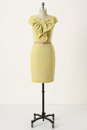 Learning Curve Dress - Anthropologie.com :  bow tie lemon yoke wiggle dress