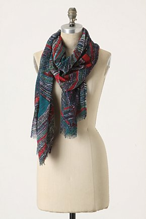 Ceremonious Scarf - Anthropologie.com :  wool lapis scarf jade