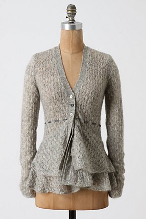 Tea's Ribbon Cardi - Anthropologie.com :  tie button closure flouncy wool blend