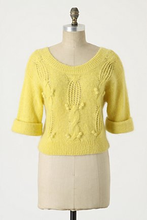 Spun Sun Pullover - Anthropologie.com :  cable knit yellow sweater mohair
