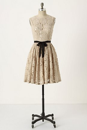 Spinning Lace Dress - Anthropologie.com :  party frock silky cream retro inspired
