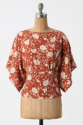 Autumn Obi Top - Anthropologie.com :  floral pumpkin cream keyhole detail