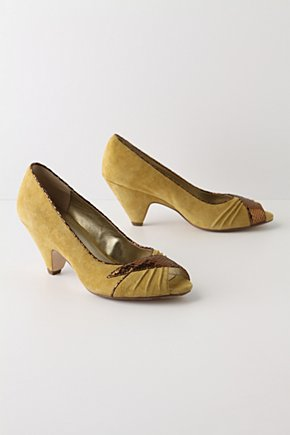 Hide-And-Slink Heels - Anthropologie.com :  copper suede peep toe trimmed
